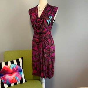 Desigual Vibrant Floral Butterfly Tie Front Dress